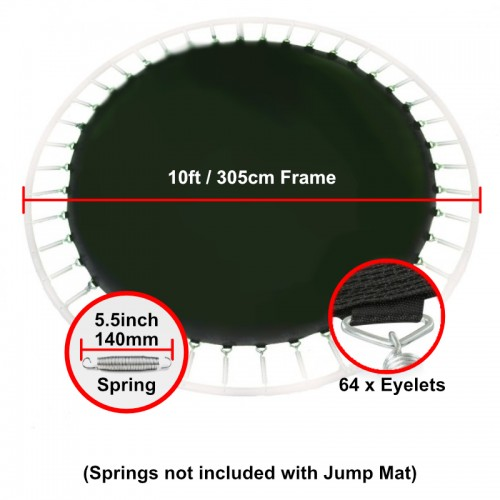 """Jump Mat for 10 ft Trampoline Frame with 64 eyelets (for 5.5"""" springs)"""