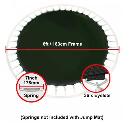 """Jump Mat for 6 ft Trampoline Frame with 36 eyelets (for 7"""" springs)"""